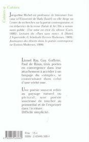 Une difficile simplicité : Guy Goffette, Lionel Ray, Paul de Roux - 4ème de couverture - Format classique