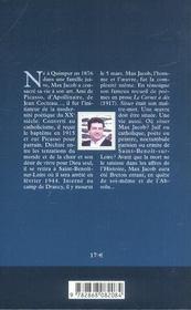 Max jacob - 4ème de couverture - Format classique
