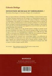 Invention musicale et idéologies t.2 ; mutations historiques et lectures critiques de la modernité - 4ème de couverture - Format classique
