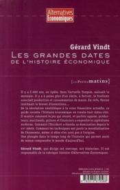 Les grandes dates de l'histoire économique - 4ème de couverture - Format classique