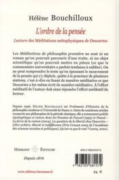 L'ordre de la pensée ; lecture des méditations métaphysiques de Descartes - 4ème de couverture - Format classique