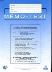 Lot De 3 Memo - Test Et 2 Memo - Evaluation - Couverture - Format classique