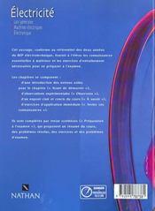 Electricite 2e-Terminale Bep ; Livre De L'Eleve - 4ème de couverture - Format classique