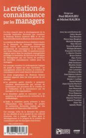 La création de connaissance par les managers - 4ème de couverture - Format classique