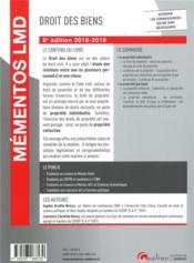 Droit des biens (édition 2018/2019) - 4ème de couverture - Format classique