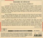 Lettres de Madame de Sévigné - 4ème de couverture - Format classique