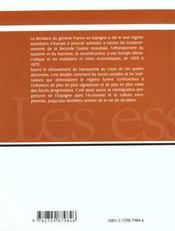 L'Espagne Du Xxe Siecle Le Franquisme - 4ème de couverture - Format classique