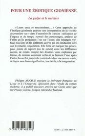 Pour Une Erotique Gionienne ; La Guepe Et Le Narcisse - 4ème de couverture - Format classique