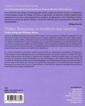 Cahiers D'Anthropologie Sociale T.4 ; Walter Benjamin - 4ème de couverture - Format classique