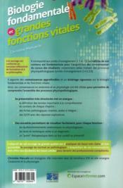 Biologie fondamentale et grandes fonctions vitales - 4ème de couverture - Format classique