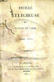 Feuille Religieuse Du Canton De Vaud - Annee 1830. - Couverture - Format classique