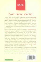 Droit Penal Special - 4ème de couverture - Format classique