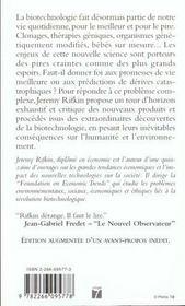 Le Siecle Biotech ; Le Commerce Des Genes Dans Le Meilleur Des Mondes - 4ème de couverture - Format classique