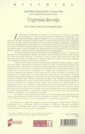 Expression du corps. dans l iconographie antique - 4ème de couverture - Format classique