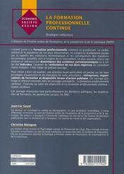 La formation professionnelle continue ; stratégies collectives - 4ème de couverture - Format classique