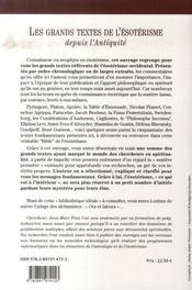 Les grands textes de l'ésotérisme depuis l'antiquité - 4ème de couverture - Format classique