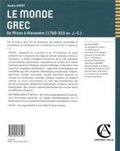Le monde grec ; de Minos à Alexandre (1700-323 av. J.-C.) - 4ème de couverture - Format classique