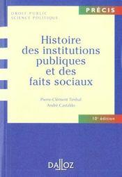 Histoire des institutions publiques et des faits sociaux - Intérieur - Format classique