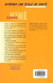 Integrer Une Ecole De Sante ; Chimie Kine - 4ème de couverture - Format classique