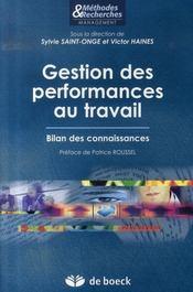 Gestion des performances au travail ; bilan des connaissances - Intérieur - Format classique