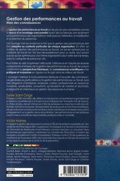 Gestion des performances au travail ; bilan des connaissances - 4ème de couverture - Format classique