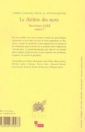 Libres cahiers pour la psychanalyse - n7 03 le theatre des mots - 4ème de couverture - Format classique