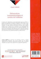 Déformations isomonodromiques et variétés de Frobienus - 4ème de couverture - Format classique