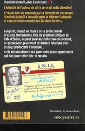 Langelot 10 - langelot et l'inconnue - 4ème de couverture - Format classique