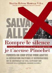 Rompre le silence, je t'accuse Pinochet - Couverture - Format classique
