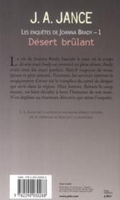 Les enquêtes de Joanna Brady t.1 ; désert brûlant - 4ème de couverture - Format classique