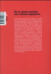 Savoir/agir N.34 ; de la classe ouvrière aux classes populaires - 4ème de couverture - Format classique
