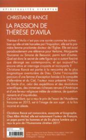 La passion de Thérèse d'Avila - 4ème de couverture - Format classique