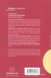 Le marché des universitaires ; France, Allemagne, Etats-Unis - 4ème de couverture - Format classique