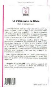 La démocratie au Bénin ; bilan et perspectives - 4ème de couverture - Format classique