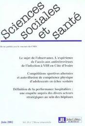 Revue Sciences Sociales Et Sante ; Le Sujet De L'Observance ; L'Expérience De L'Accès Aux Antirétroviraux De L'Infection A Vih En Côte D'Ivoire - Intérieur - Format classique
