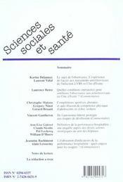 Revue Sciences Sociales Et Sante ; Le Sujet De L'Observance ; L'Expérience De L'Accès Aux Antirétroviraux De L'Infection A Vih En Côte D'Ivoire - 4ème de couverture - Format classique