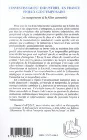 L'investissement industriel en france - enjeux contemporains - les enseignements de la filiere autom - 4ème de couverture - Format classique