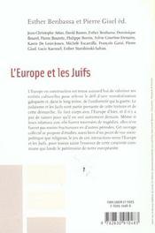 L'europe et les juifs - 4ème de couverture - Format classique