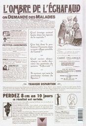 L'ombre de l'échafaud t.2 ; l'affaire Dudane - 4ème de couverture - Format classique