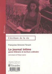 Le Journal Intime, Genre Litteraire Et Ecriture Ordinaire - Intérieur - Format classique