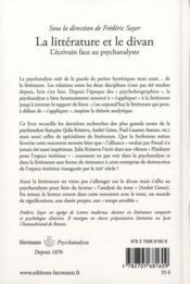 La litterature et le divan ; l'écrivain fance au psychanalyste - 4ème de couverture - Format classique