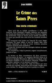Le crime des saints pères ; una storia criminale - 4ème de couverture - Format classique