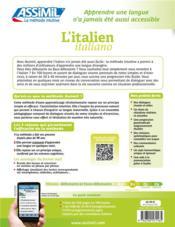 L'italien/italiano ; B2 ; débutants & faux débutants - 4ème de couverture - Format classique