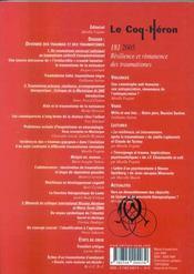 Coq heron 181 - resilience et remanence des traumatismes - 4ème de couverture - Format classique