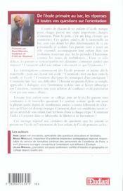 L'orientation scolaire expliquée aux parents ; de l'école primaire au bac ! (édition 2004) - 4ème de couverture - Format classique