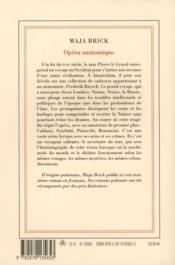 Opéra anatomique - 4ème de couverture - Format classique