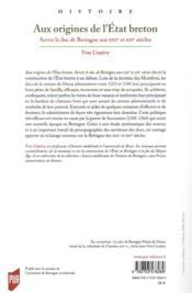 Aux origines de l'Etat breton ; servir le duc de Bretagne aux XIIIe et XIVe siècles - 4ème de couverture - Format classique