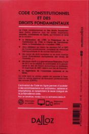 Code constitutionnel et des droits fondamentaux, annoté, commenté en ligne (édition 2021) - 4ème de couverture - Format classique