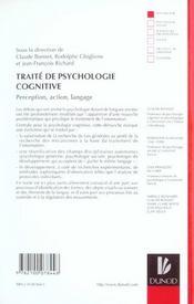Traite de psychologie cognitive - tome 1 - perception, action, langage - 4ème de couverture - Format classique