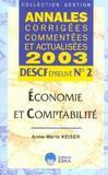 Descf Epreuve 2. Economie Et Comptabilit